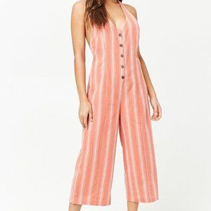 Forever 21 Striped Coral Buttoned Halter Jumpsuit
